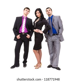 Group of young business people, isolated over white background.