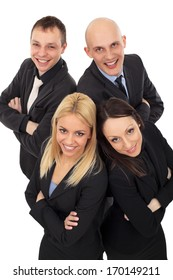 Group of Young business people standing photographed from above