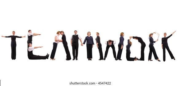 Group of young business people standing over white to form teamwork word