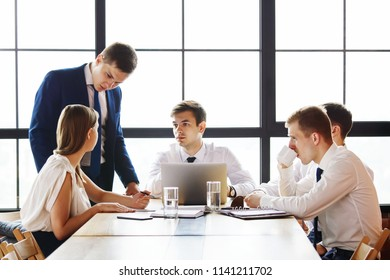 Group of young business team working at a table