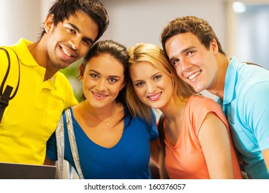 group of young college students close up portrait