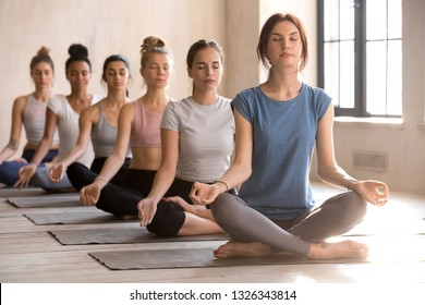 Group of young diverse attractive people meditating in yoga Easy Seat exercise, doing Sukhasana pose, sporty female students training at club or yoga studio indoor. Well being, wellness concept