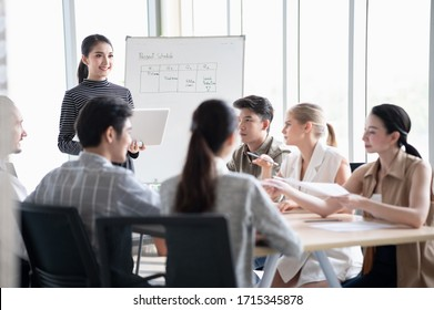 Group of young diversity business people meeting or discussing about their business happily in office together.
