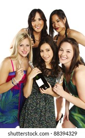 Group of young energetic pretty girls celebrating against white background