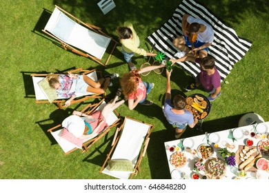 Group of young friends eating grilled food in the garden