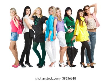 Group of young girls. Isolated on white background