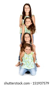 Group of young girls posing isolated