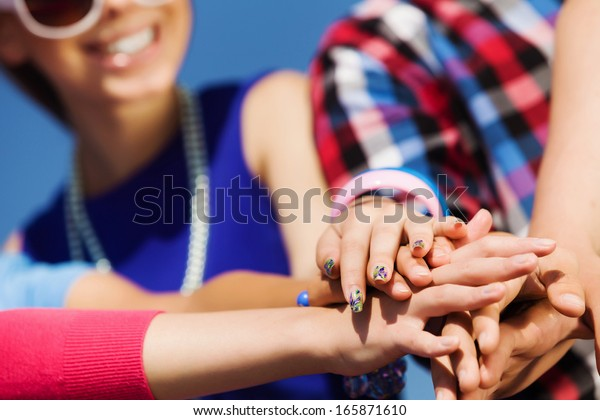 Group of young happy people. Unity concept