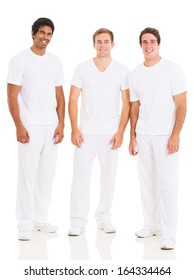 group of young man in white isolated on white background