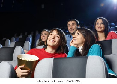 Group of young men at cinema