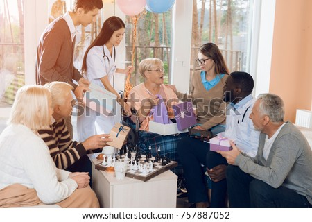 Group Young Old People Nursing Home Stock Photo Edit Now 757887052