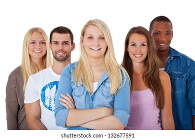 Group of young people. All on white background.