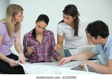 Group of young people in architect training