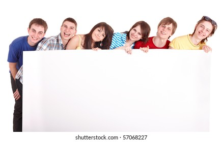 Group of young people with banner. Isolated.