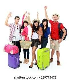 group of young people bring suitcase going on vacation
