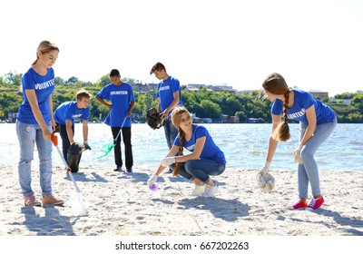 Group of young people cleaning beach area. Volunteer concept