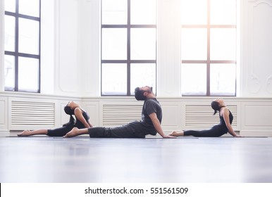 Group of young people doing yoga cobra pose in the class with windows. Fitness, sport, training and yoga lifestyle concept.
