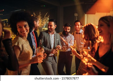 Group of young people enjoying at a nightclub