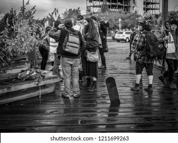 a group of young people gathered at a protest for the homless in Olympia Washington on July 19th 2018