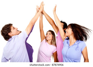 Group of young people giving a high-five, isolated over a white background