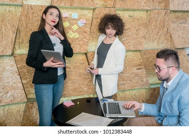 Group of young people having business meeting at a coffee shop. concept