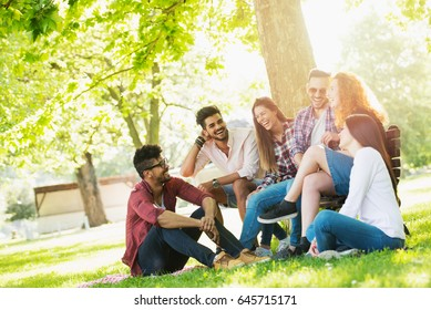 Group of young people having fun outdoors