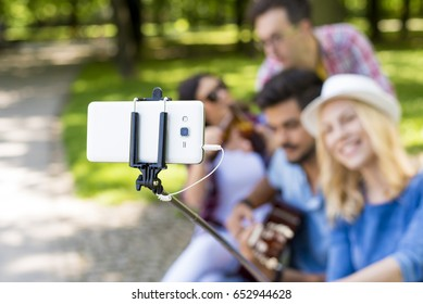 Group of young people having fun in the park while playing guitar and taking photo with  selfie stick