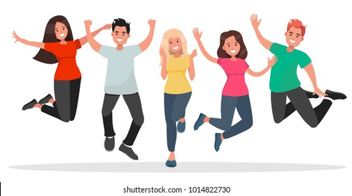 Group of young people jumping on white background. The concept of friendship, healthy lifestyle, success. Illustration in flat style.