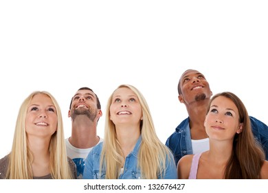 Group of young people looking up. All on white background.