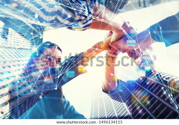 Group of young people make an agreement. Double exposure with network effects