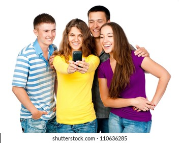 group of young people with mobile phone on a white background