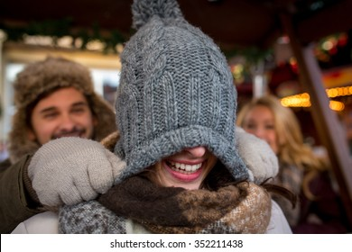 Group of young People on the Christmas Market in Germany