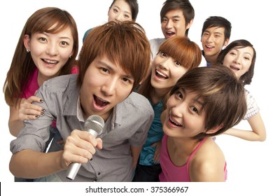 A group of young people singing