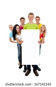 group of young people smile holding a blank white card board, signboard, show empty bill board, full length portrait isolated over white background