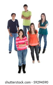 Group of young people standing over a white background