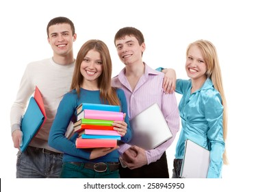 Group of Young People Standing Together with Notebooks, Laptop and Notepads