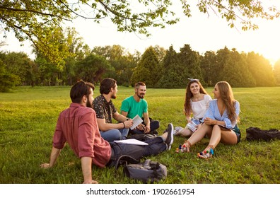 A group of young people students communicate sitting on the grass in a summer park at sunset. Friends relax in their free time.