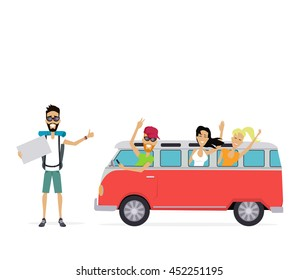 Group of young people traveling in vintage bus. Autostop concept isolated on white background. Camper van. Man with a sign stands and catches passing transport.  illustration