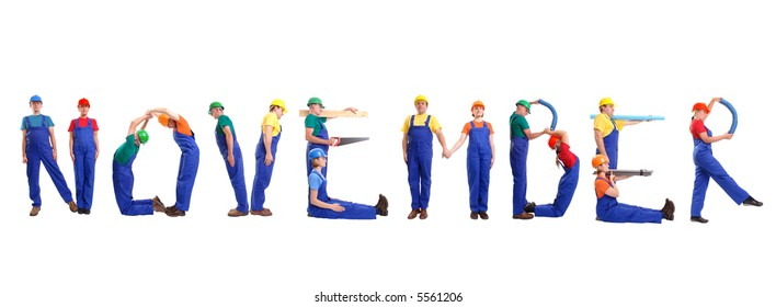 Group of young people wearing different color uniforms and hard hats forming November word - isolated on white background - calendar concept