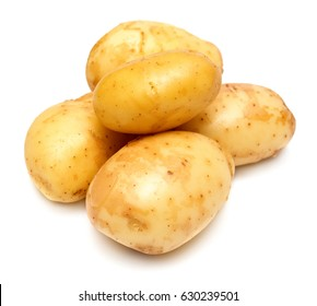 Group of young potatoes isolated on white background. Harvest new. Flat lay, top view