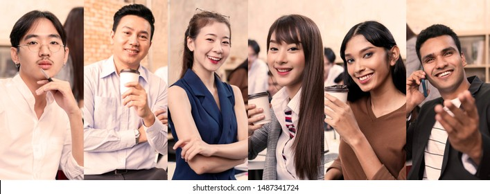 group of young smart asian entrepreneur startup company portrait smileing with successful and confident office background