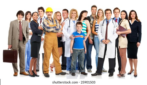 Group of young smiling people. Over white background