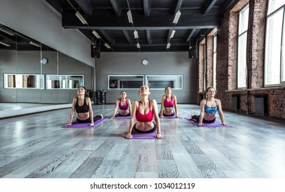 Group of young smiling sporty attractive women practicing yoga lesson with instructor. Work out.