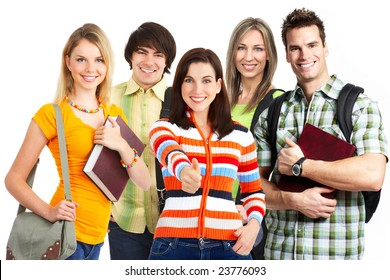 Group of young smiling  students. Over white background