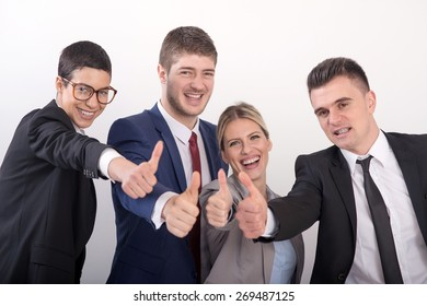 A group of young smiling successful business people
