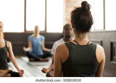 Group of young sporty people practicing yoga lesson with instructor, sitting in Sukhasana exercise, Easy Seat pose, working out, students training in sport club, studio, rear close up view