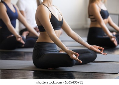 Group of young sporty people practicing yoga lesson, doing Padmasana exercise, Lotus pose, working out, students training in sport club, studio close up view photo. Healthy, mindful lifestyle concepts