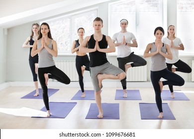 Group of young sporty people practicing yoga lesson, doing Vrksasana exercise, Tree pose, working out, indoor full length, yogi students training in sport club, studio. Wellness, healthy life concept
