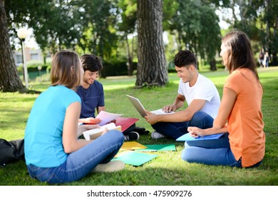 group of young students sitting together on green lawn high school university campus