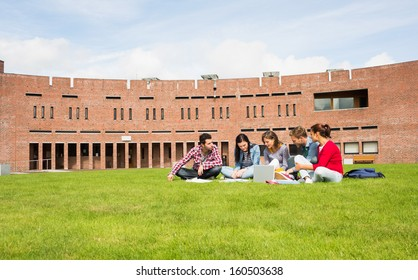 Group of young students using laptop in the lawn against college building